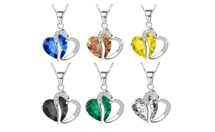 KATGI White Gold Diamond Accent Austrian Crystals Heart Shape Pendant Necklace