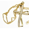 Gold Classic Hollow Swirl Double Cross Necklace Pendant Inset Zircons