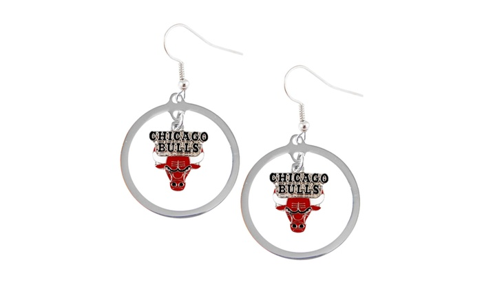 Chicago Bulls Hoop Logo Earring Set NBA Charm Gift