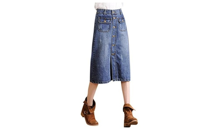 Women's High Waist Single Button Denim Skirt with Two Pockets Blue