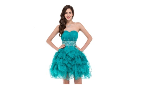e4e894a08 Short Turquoise Formal Strapless Dress Crystals Sweetheart Neck Size 6  (Goods Women's Fashion Clothing Dresses