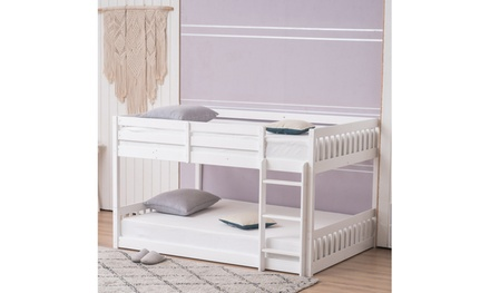"Pine Wood Short Bunk Bed Vertical Bed Head 47.5 ""H Twin/Full White"