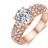 Cubic Zirconia Silver & Rose Gold Color Stone Ring for Women