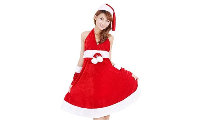 Cute Christmas Red Dress Suit Santa Costumes 1 Cap+1 Dress Bky5-065 - Red / Free