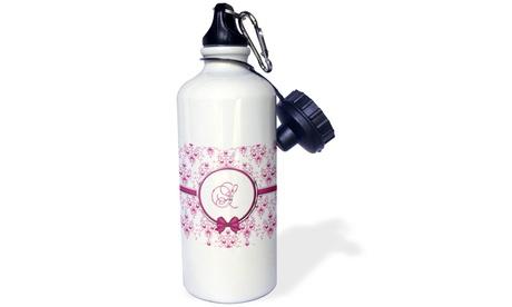 Water Bottle Elegant Pink and Silver Heart Damask Monogram Letter S photo