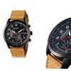 Light Brown Leather Strap Stainless Steel Men Wrist Watch