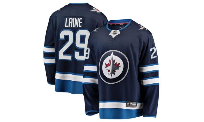 best service 75ffc d6229 Mens Winnipeg Jets Patrik Laine Navy Breakaway Player Jersey