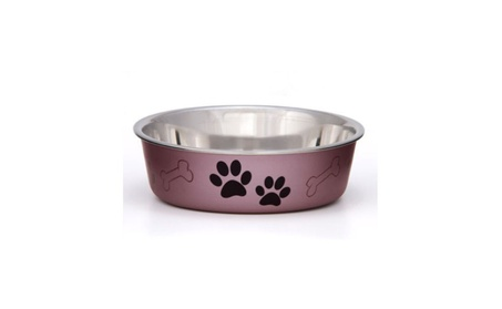 Dog Puppy Designer Bowl Stainless Steel Non Skid Bella 44af8dc0-4d32-4500-b048-1a7f5d02ddda