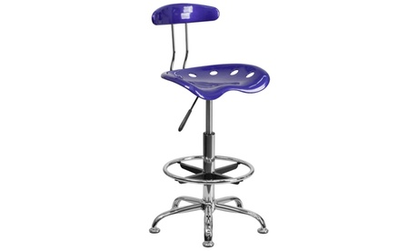 Vibrant Chrome Drafting Stool with Tractor Seat d8123e10-b465-4bf1-b2a7-dabe10c70cb5