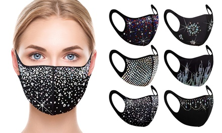 6 Pack: Rhinestone Holiday Bling Face Mask Was: $120.00 Now: $12.99