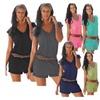 Women's V-neck Sleeveless Beachsuit Shorts Jumpsuits