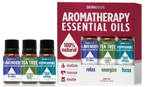 Skin Solve 100% Natural Aromatherapy Essential Oils (3- or 6-Pack)