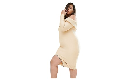 Women's Plus Ribbed Cold Shoulder Apricot Long Sleeves Dress 036059b1-a638-4a8f-b3e5-5a491d84dd35
