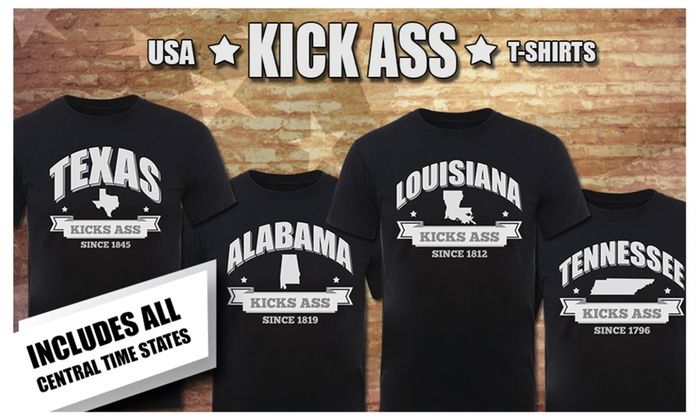 U.S.A. KICK ASS Home State T-Shirts (Central Time States) A to M