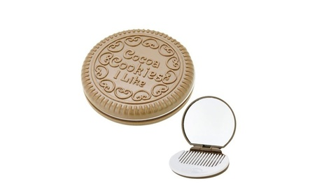 Cute Chocolate Cookie Shaped Design Pocket Mirror Makeup w/ Comb