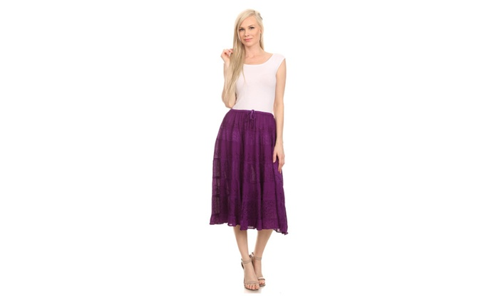 Sakkas Rowan Mid Length Bohemian Embroider Skirt With Adjustable Waist