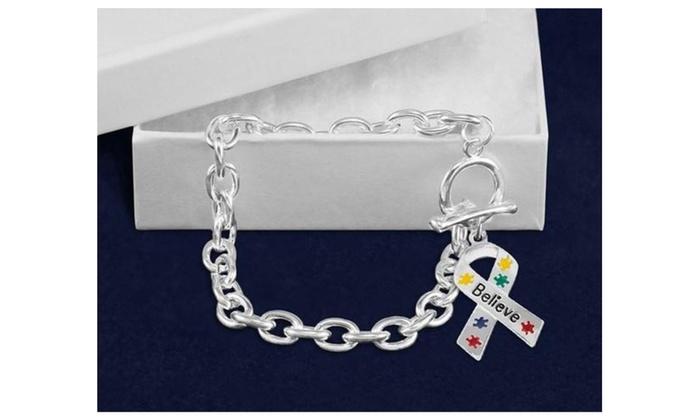 Believe Puzzle Piece Charm Bracelet For Mental Health Awareness