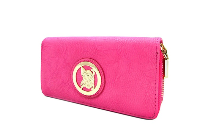 Itbagfashion: Women's Designer Rounded Symbol Double Zip Around Wallet SLA02 - Pink