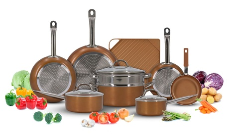 Luxury Copper Cookware Pots and Pans Set with Non-Stick Griddle (13-Piece)