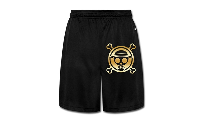SY Factory: Men's One Piece Luffy Gold Logo Gym Shorts