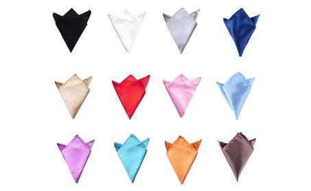 Men's Pure Color Pocket Squares 12 Pcs