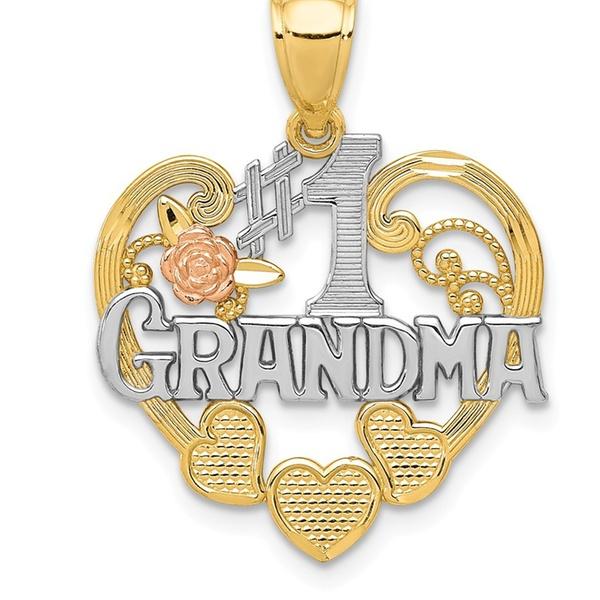 14k Two-tone and Rhodium Grandma Heart Pendant