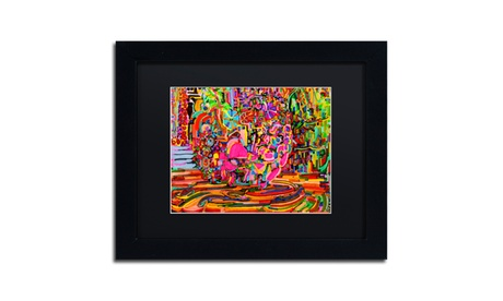Josh Byer 'Nude Woman As A Bowl Of Fruit' Matted Black Framed Art bdc55186-73d5-4e68-ad28-d04c72326854