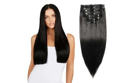 """All Natural Real Human Long Hair Metal Clips on Extensions 22"""" (7-Piece)"""