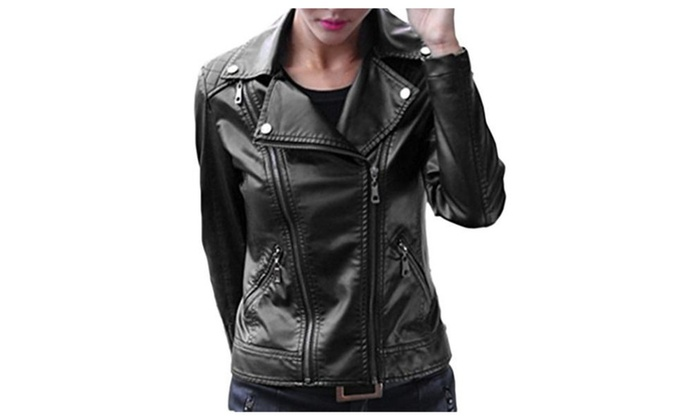 Bigood Women Classic Double Zipper PU Leather Jacket Coat