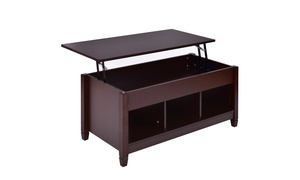 Brown w/ Hidden Compartment and Storage Shelves Lift Top Coffee Table