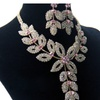 Gold Color Flower Bridal Crystal Rhinestone Vintage Jewelry Set