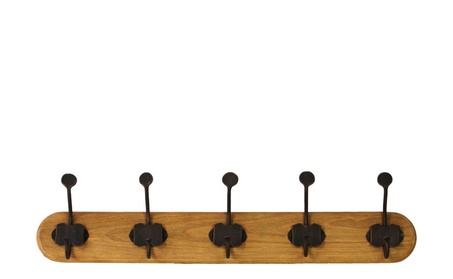Wood Hanger with 5 Metal Double Hooks Large Varnished Wood Finish 07963a43-bd8c-4f1a-a7c6-ee7420e20eb9