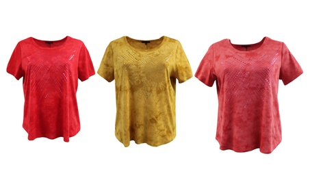 Women's Plus-Size Tie Dye Metallic Foil T-Shirt Blouse Shirt Top Knit