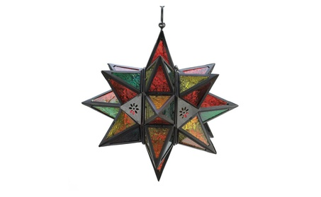 Jewel Tone Stained Glass Look Multi Point Star Hanging Candle Lantern 22dbcc9a-9e3b-4d15-b901-6c1aac9cb7e4