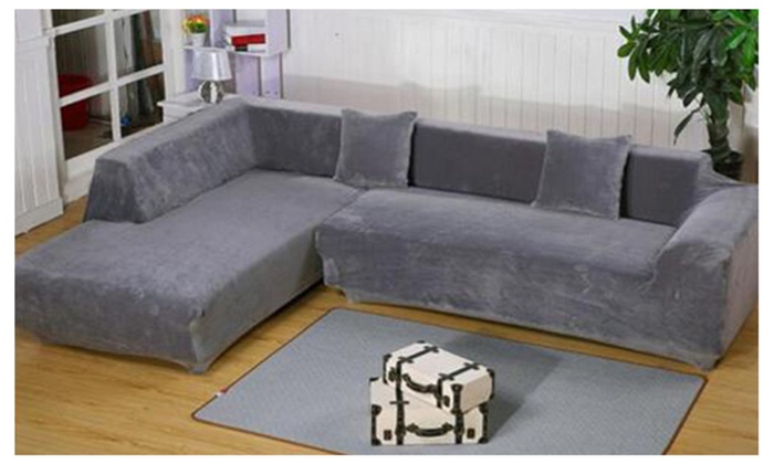 ... L Shape Stretch Elastic Fabric Sofa Cover Sectional/Corner Couch Cover  ...