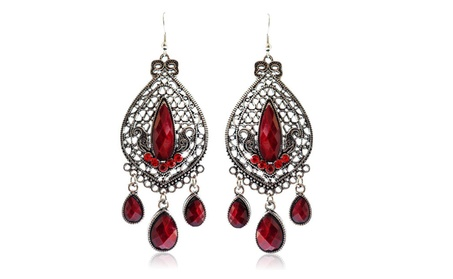 Faux Rhinestone Ethnic Earrings Antique Victorian Tear Drop Earrings