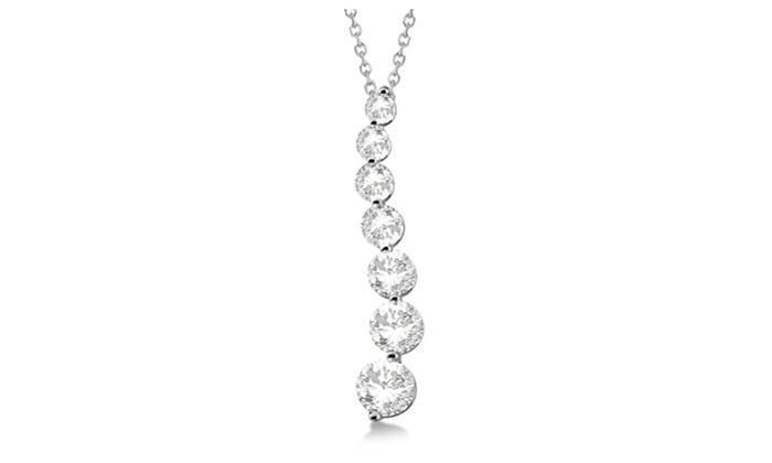 Seven stone moissanite journey pendant necklace 14k white gold 150 seven stone moissanite journey pendant necklace 14k white gold 150ct aloadofball Choice Image