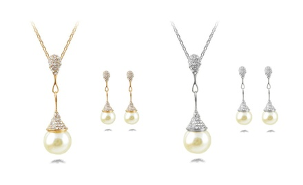 KATGI Fashion White Pearl with Austrian Crystal Pendant Necklace and Earrings Set