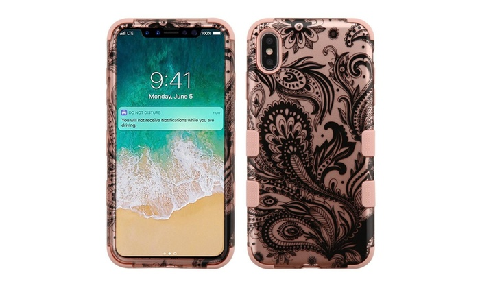 Tuff Phoenix Flower Dual Layer Pc Tpu Rubber Case For Iphone Xs Max
