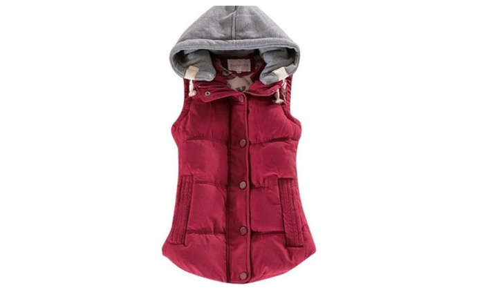 All-match Vest Patchwork Sleeveless Hooded Collar Casual Colete