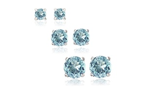 3-Pair Set Sterling Silver Blue Topaz Round Stud Earrings, 3mm 4mm 5mm