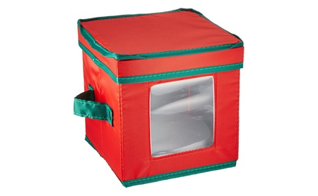 Household Essentials 530RED Holiday Saucer Chest Red with Green trim abdd90e3-2e6e-402b-ac99-353448adc34c