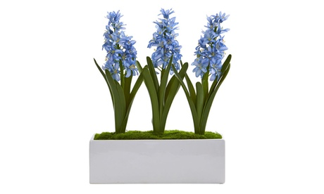 Nearly Natural Hyacinth Artificial Arrangement in White Vase a65a77dc-7620-46cf-9c52-ed7e5c7158bc