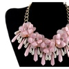 Alloy Crystal Tassel Gold Color Imitation Pearl Pendant Necklace