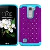 Insten Hard Dual Rubber Silicone Case W Diamond For Lg K7 Purple Teal