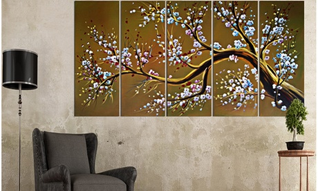 Multi-Panel Hand-Painted and Textured African- or Asian-Themed Paintings 7731764b-ad4a-4a77-9ea8-c16d362ac604