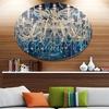Blue Vintage Crystal Chandelier' Disc Flower Artwork on Large Metal Circle