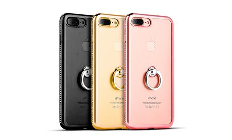 Apple Iphone 7 Plus Diamond Jewel Transparent Tpu Ring Case