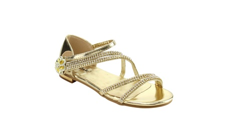 Beston IE74 Girl's Rhinestone Strappy Bow Metallic Flat Dress Sandal 1ce95f6a-adea-4b22-ad50-25e28636c647
