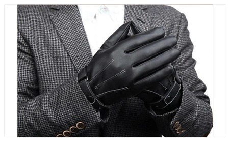 Leather Gloves Full Finger Men Motorcycle Driving Winter Warm Touch c44752e2-ed87-4520-b82b-cb6fc62a9ba2